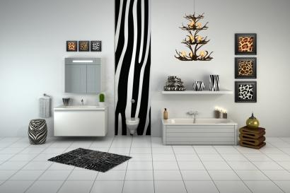 Ljust badrum från Gustavsberg stylat med mörka toner.